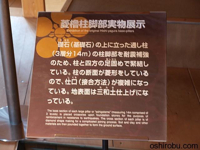 菱櫓柱脚部実物展示