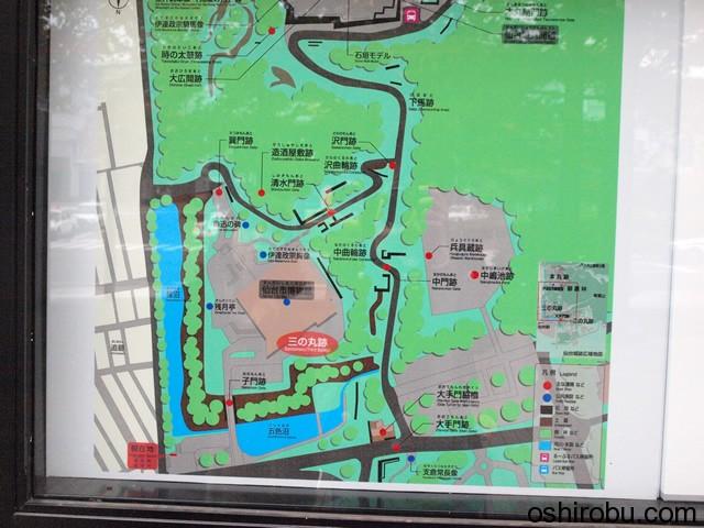 仙台城の地図